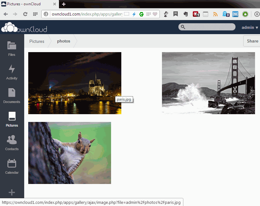 Owncloud pictures page